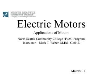 Electric Motors Applications of Motors