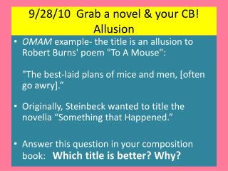 9/28/10  Grab a novel & your CB!  Allusion