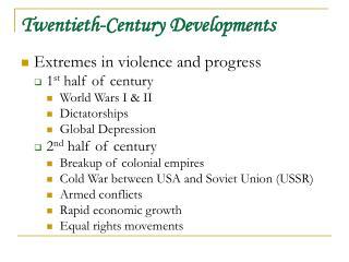 Twentieth-Century Developments