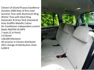 Citroen C4 Grand Picasso Excellence Octubre-2006 Date of first road