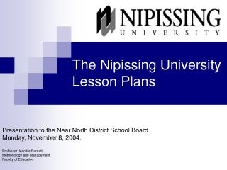 The Nipissing University Lesson Plans