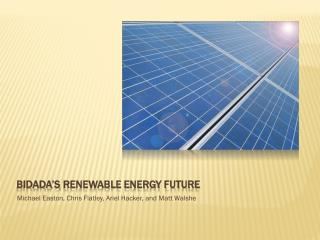 Bidada's  Renewable Energy Future