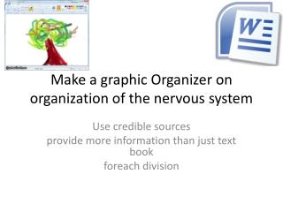 Make a graphic Organizer on organization of the nervous system