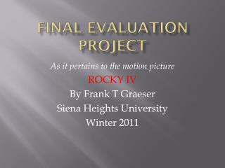 Final Evaluation Project