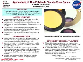 Applications of Thin Polyimide Films to X-ray Optics Luxel Corporation Friday Harbor, WA