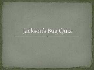 Jackson's Bug Quiz