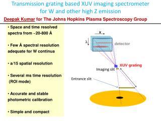 Transmission grating based XUV imaging spectrometer for W and other high Z emission