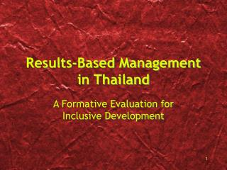 Results-Based Management  in Thailand