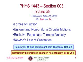 PHYS 1443 � Section 003 Lecture #9