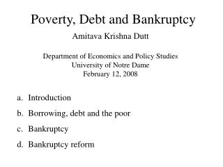 Poverty, Debt and Bankruptcy