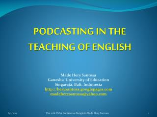 PODCASTING IN THE TEACHING OF ENGLISH
