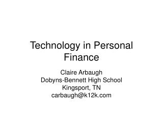 Technology in Personal Finance