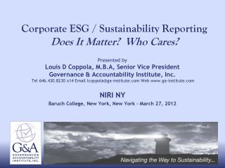 Corporate ESG / Sustainability Reporting Does It Matter?  Who Cares?