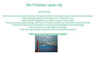 San Francisco- green city Noa Ben Yosef