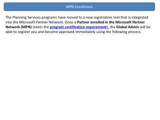 MPN Enrollment