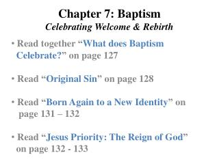 Chapter 7: Baptism Celebrating Welcome & Rebirth
