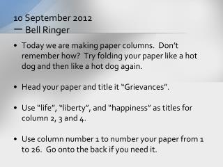 10 September 2012 ? Bell Ringer
