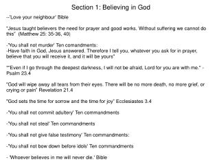Section 1: Believing in God
