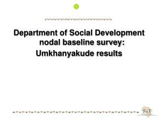 Department of Social Development nodal baseline survey: Umkhanyakude results