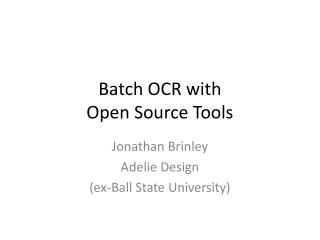 Batch OCR with Open Source Tools