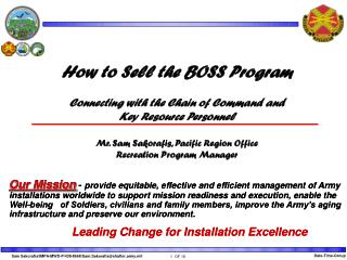 How to Sell the BOSS Program Connecting with the Chain of Command and Key Resource Personnel