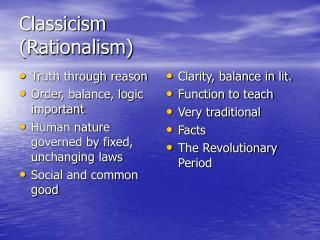 Classicism (Rationalism)