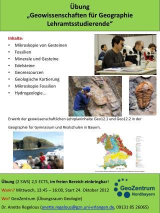 """Übung """"Geowissenschaften für  Geographie  Lehramtsstudierende"""""""