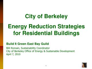 City of Berkeley Energy Reduction Strategies for Residential Buildings