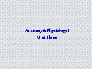 Anatomy & Physiology I Unit Three