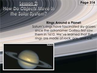 Lesson 2 : How Do Objects Move in the Solar System?