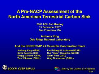 A Pre-NACP Assessment of the  North American Terrestrial Carbon Sink