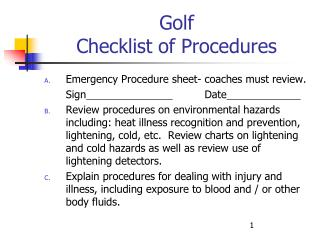 Golf  Checklist of Procedures