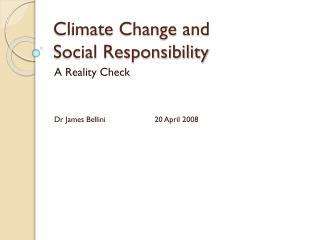Climate Change and  Social Responsibility
