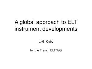 A global approach to ELT instrument developments