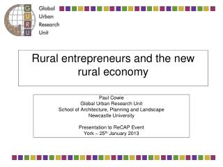 Rural entrepreneurs and the new  rural economy