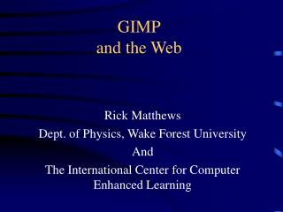 GIMP and the Web