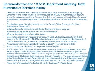 Comments from the 1/12/12 Department meeting: Draft Purchase of Services Policy