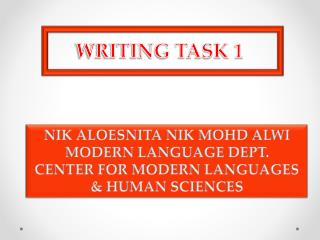 NIK ALOESNITA NIK MOHD ALWI MODERN LANGUAGE DEPT. CENTER FOR MODERN LANGUAGES  & HUMAN SCIENCES