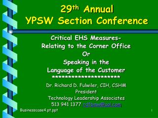 29 th  Annual YPSW Section Conference