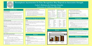 Hemispheric Asymmetries In False Recognition May Depend on Associative Strength Cathy S. Robinson  Christine Chiarello U