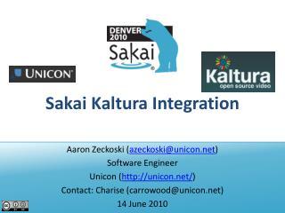 Sakai  Kaltura  Integration