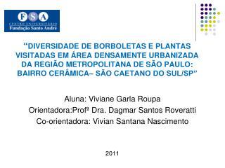 Aluna: Viviane Garla Roupa Orientadora:Profª Dra. Dagmar Santos Roveratti