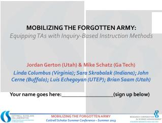 Mobilizing the Forgotten Army: Equipping TAs with Inquiry-Based Instruction Methods