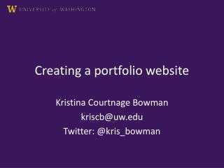 Creating a portfolio website