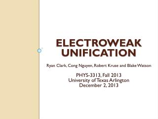 Electroweak Unification