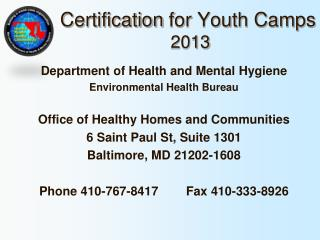 Certification  for  Youth Camps  2013
