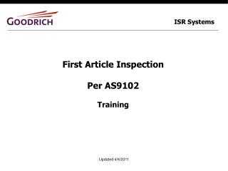 First Article Inspection Per AS9102 Training