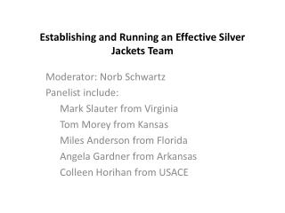 Establishing and Running an Effective Silver Jackets Team