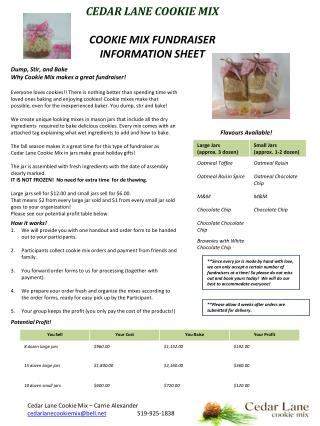 CEDAR LANE COOKIE MIX COOKIE MIX FUNDRAISER INFORMATION SHEET