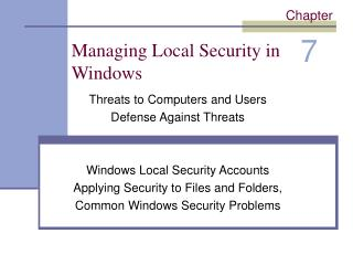 Managing Local Security in Windows